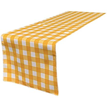 LA Linen 14 By 108 Inch Checkered Gingham Table Runner / Pack Of 1 /