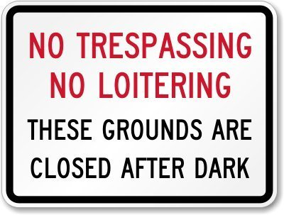 No Trespassing No Loitering, These Grounds Are Closed After Dark Sign, 18