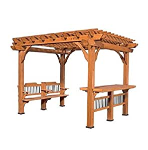 Pre-Stained 100% Natural Cedar Wood Outdoor 10' X 12' Pergola w/ Bar & Bench