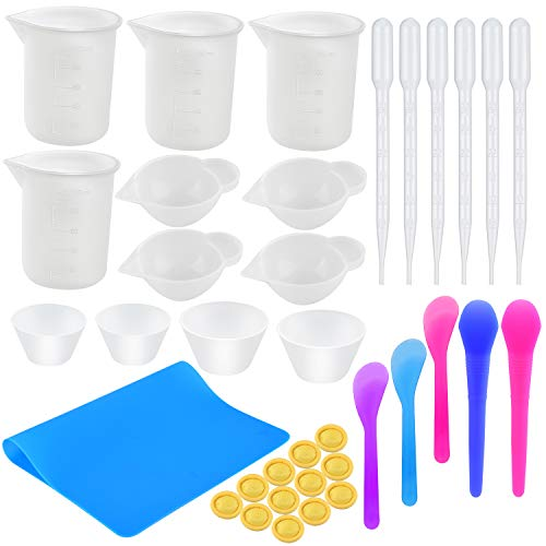 Coopay Silicone Resin Mixing Cups Kit- 100ml Silicone Measuring Cups, Silicone Mixing Cups, Transfer Pipettes, Finger Cots, Silicone Stir Stick and Silicone Mat for Art Making Handmade Craft