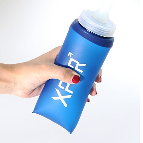 Xpor Sport Collapsible Lightweight Compact BPA free Soft Running Water Bottle Soft Hiking Flask Hydration Bottle with 350ml 12OZ / 600ml 24OZ