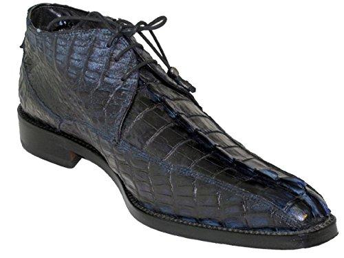 Toscana Uomo Dressy 6142 Corno Corallo Crorodile Allacciatura Scarpe Alla Caviglia Punta Quadrata Blu