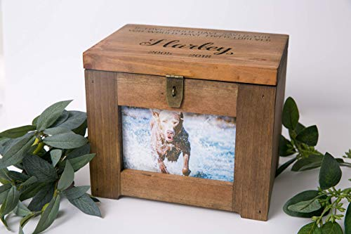 Personalized Pet Memory Box/Urn with Name and Quote or Poem - Memorial Photo Frame Chest Picture Keepsake Urn - Dog, Cat, Lizard, Bird