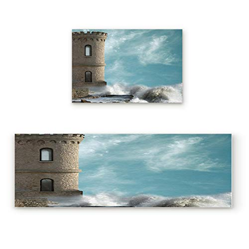 Outdoor Natural Lighthouse Accent (Aomike 2 Piece Non-Slip Kitchen Mat Rubber Backing Doormat Stone Lighthouse and Roaring Waves Runner Rug Set Hallway Living Room Balcony Bathroom Carpet Sets (15.7