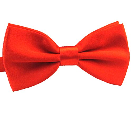 QYdress Men Bow Tie Adjustable Length Wedding Male Fashion Boys Girls Kids Women Satin one Size Red -