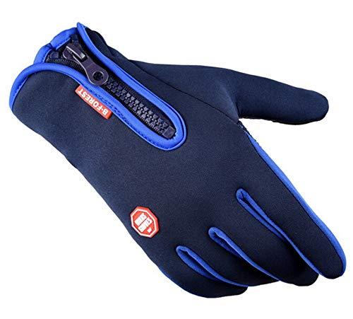 Epinki Winter Gloves Keep Warm Gloves Touch Screen Gloves Riding Zipper Skiing Gloves Blue ()