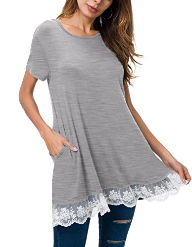 S line Long Sleeve gray Casual Short Stitching Lace A POZON Women's Dress Trim amp; 7wqCCT