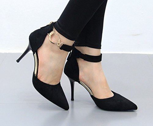 Heels Head Out 38 Leisure Black Elegant 9Cm Single Women A Buckle Shoes Sharp Shoes Decoration Heel Work Hollow MDRW Spring Lady Metal Fine Word qTZFAwgOxn