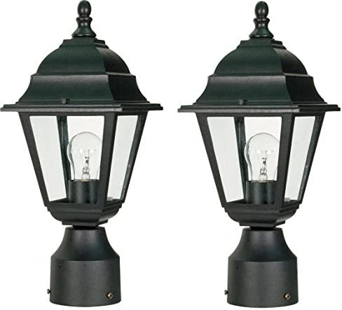 Nuvo One Light Post Lantern Black, 2-Pack