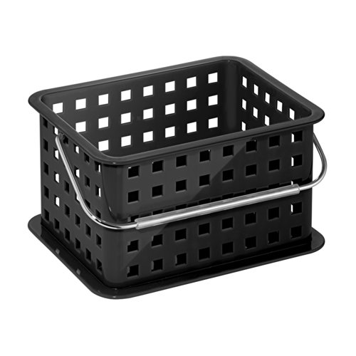 InterDesign Storage Organizer Basket, for Bathroom, Health and Beauty Products - Small, Black by InterDesign