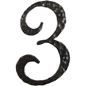 Spanish Rustic Hammered Wrought Iron Address Number 6 inch