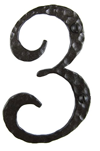Spanish Rustic Hammered Wrought Iron Address Number 4 inch 3 (Bronze)