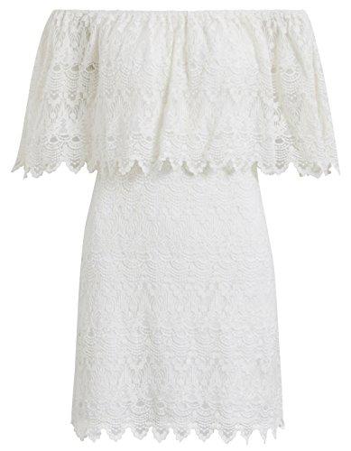 Vestido ibicenco encaje Viwoodstock de Vila Clothes Blanco