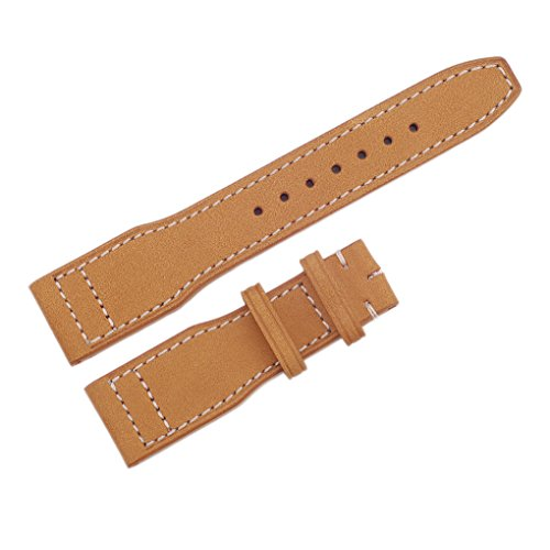 (Ac Union 22mm Leather Watch Strap ACUNIONTM Wrist Replacement Frosted Genuine Leather Watch Bands (Khaki, 22mm))