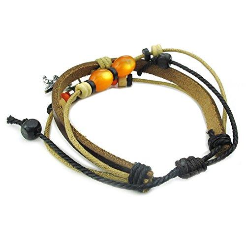 bracelet - SODIAL(R) Multilayer tisser reglable bracelet en cuir