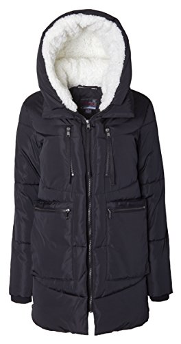 Sportoli Women Fashion Winter Side Zip Lined Puffer Parka Coat Sherpa Lined Hood - Black (Size Large) (Black Belted Winter Coat)