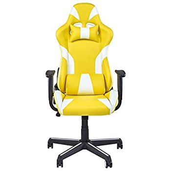 Image of Home and Kitchen IDS Online Video Gaming Ergonomic Chair, Executive Swivel Racing Style High-Back Office Lumbar Support, Yellow