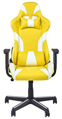 IDS Home Gaming Chair Executive Swivel Video Racing Style High-Back Office Chair Lumbar Support Ergonomic with Headrest – Yellow