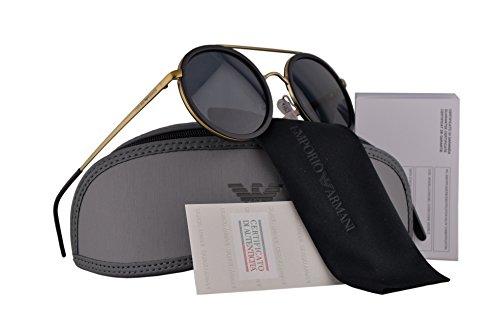 Emporio Armani EA2041 Sunglasses Matte Pale Gold Black w/Gray Lens 300287 EA 2041