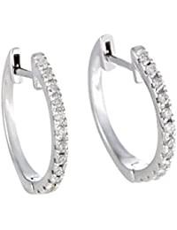 "Stunning 0.22 Carats (ctw) Diamond Hoop Earrings in 14K Gold; 1/4 CT Brilliant White Diamonds (G Color, SI1-SI2 Clarity) in 0.5"" Hoops"
