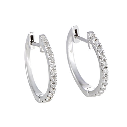 (ctw) Diamond Hoop Earrings in 14K White Gold; 1/4 CT Brilliant White Diamonds (G Color, SI1-SI2 Clarity) in 0.5