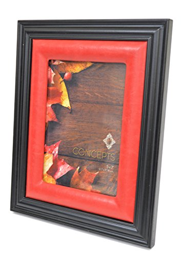 Concepts Photo Frame Black Beveled Wood With Red Faux Leather Inner Picture Frame Size 5x7