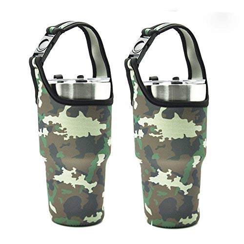 Tumbler Carrier Holder Pouch For 30oz Stainless Steel Vacuum Travel Insulated Coffee Mug, Yoelike 2 Pack Tumbler Carrier Handle Bag Neoprene Black Sleeve with Buckle Carrying Handle(2 Pack Camouflage)
