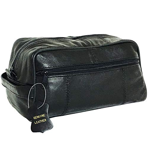 Lifestyle Banquet Genuine Mens Leather Toiletry Travel Bag with Pockets, Black, 5.5 by 9.5 inches (Leather Toilet Bag)