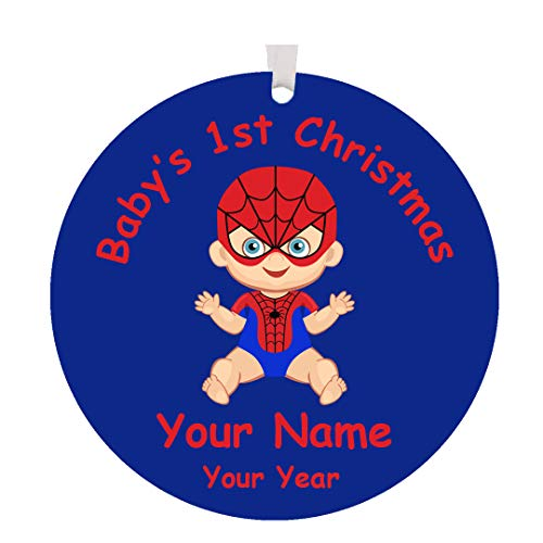 Personalized 2019 Baby's First Christmas Superhero Christmas Tree Ornament Gift with Your Choice of Custom Name - Red and Blue