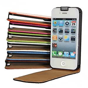 Magnetic PU Leather Vertical Flip Case Cover For iPhone 4 4S --- Color:Black