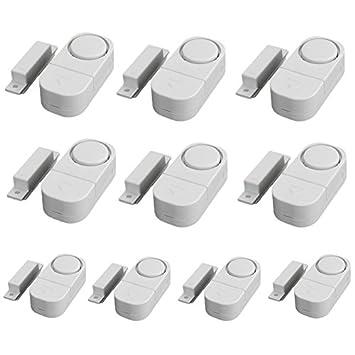 SODIAL(R) 10pcs Inicio Casa de seguridad inalambrica de sensores de Sonic ventana de la puerta antirrobo Sistemas de alarma