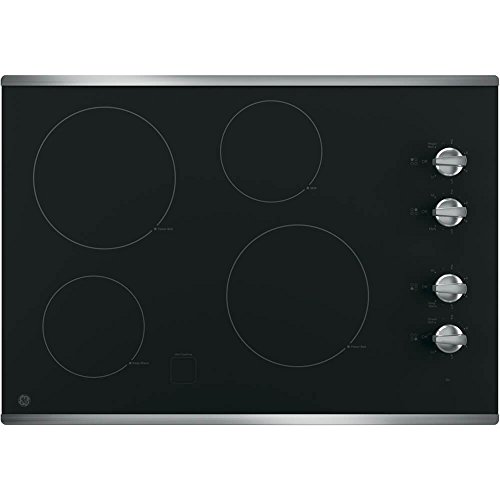 "GE 30"" Built-In Electric Cooktop Stainless Steel-on-Black JP3030SJSS"