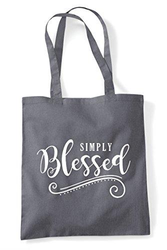 Bag Decorative Statement Simply Dark Shopper Grey Tote Blessed OSRI8