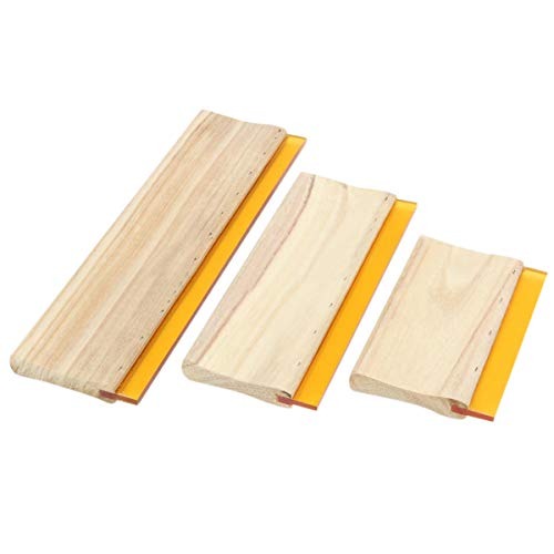 SODIAL 3 Pcs Si Screen Printing Squeegee Ink Scaper Scratch Board Tools 16cm 24cm 33cm ()