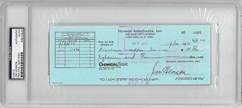Jim Henson (Muppets) Signed Authentic Autographed Check Slabbed PSA/DNA