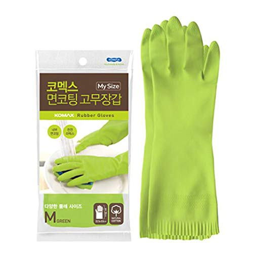 Komax Household 100% Natural Latex Eco-friendly Dishwashing Gloves, Resistant Gloves,Safety Work Cleaning, Non-slip Household Kitchen Cleaning Rubber Gloves Soft Cotton Lining for Women /5Pair (M)