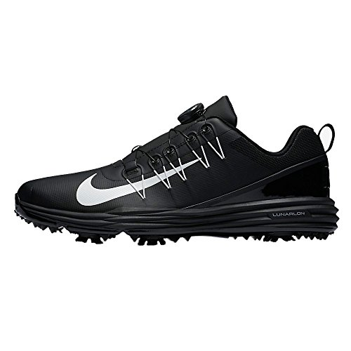 Nike Men's Lunar Command 2 BOA Golf Shoes, Black/White/Bl...