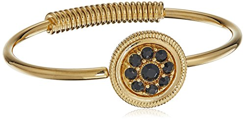 - 1928 Jewelry 14k Gold-Dipped and Black Crystal Spring Hinge Cuff Bracelet