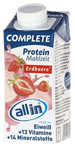 all in® COMPLETE Protein Drink Erdbeere 14x 200ml - Hochkalorische Trinknahrung auf Milch-Basis | Mehrkomponenten Protein Shake Mahlzeit zur schnellen Gewichtzunahme