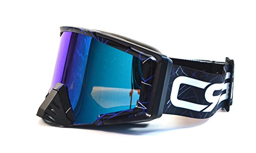 CRG Motocross ATV Dirt Bike Off Road Racing Goggles Adult T815-105 Series (Black w/ Blue Strips)