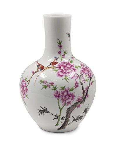Dahlia Peach Blossom Decorative Famille Rose Porcelain Flower Vase, 9 Inch Globular Shaped by Dahlia