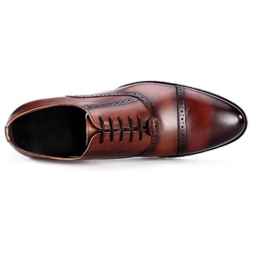 Wedding Oxford Shoes Pelle Casual Scarpe Brown Dress Business Vera da Brogue up Uomo Dress Lace in xwxR64q