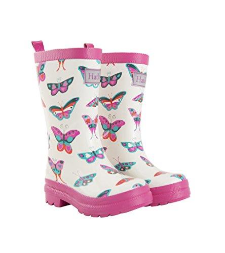 Hatley Girls' Big Printed Rain Boot, Groovy Butterflies, 3 US