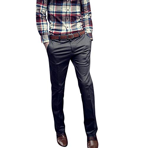 da Business Casual uomo Fit gamba Dunkel Autunno Primavera Pantaloni unita Grau Classic Slim Boys dritta tinta Vintage 0Tqdg11ywO