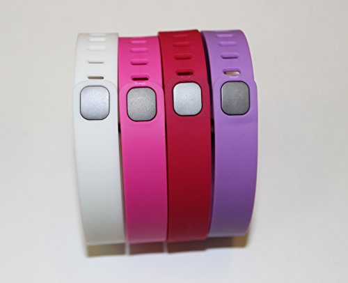 Set 4 Large Size 1 White 1 Pink/Purple 1 Rose/Fuchsia 1 Violet Rubber Bands (With Clasps) for Fitbit Flex Bracelet Tracking Exercise Activity Sport+1 Free Gift Waterproof Sunglasses, Eyeglasses Soft Pouch Bag Case/ Random Color/ by Unknown
