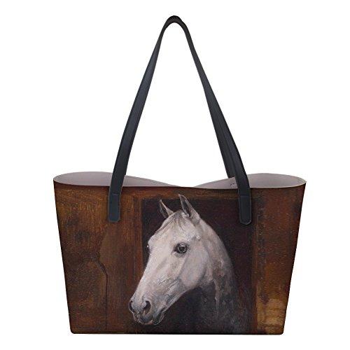 Shopping Women PU Bag Leather Horse5 Handbag Shoulder Tote Horse Print HUGS IDEA AxqpUT0