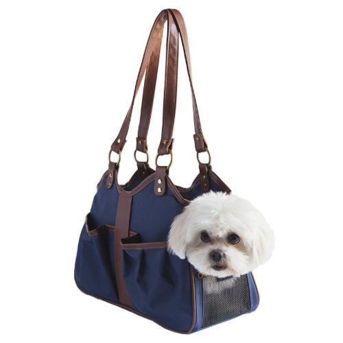 Petote Metro Dog Carrier Bags with 2 Open Pockets, Navy Blue, Petite, My Pet Supplies