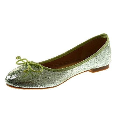 Angkorly Damen Schuhe Ballerina - Slip-On - Knoten - Schlangenhaut - Glänzende Flache Ferse 1 cm Grüne