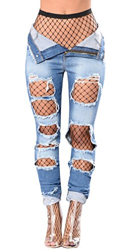 Ermonn Women's High Waist Distressed Ripped Denim Jeans Stretch Pants
