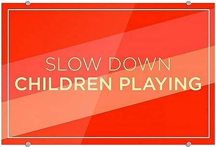 5-Pack Slow Down Children Playing Modern Diagonal Premium Acrylic Sign CGSignLab 18x12